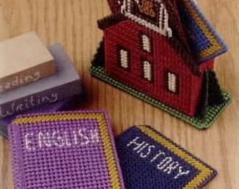 School House Coasters Pattern in Plastic Canvas