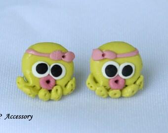 squid earrings, lovely squid earrings, clay earrings, earrings clay