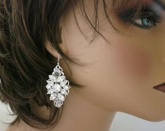 Swarovski crystal chandelier, Statement bridal earring, Rhinestone wedding earring