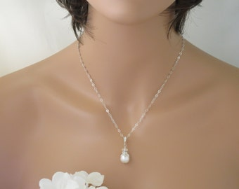 Simple pearl bridal necklace, Swarovski crystal and pearl pendant necklace, Pearl drop wedding necklace