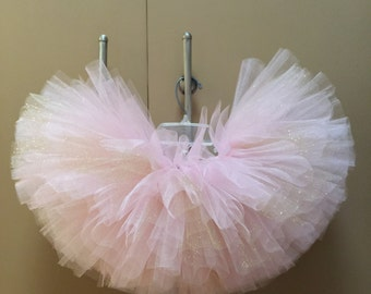 Light pink and glitter gold tutu ~over the top matching bow can be purchased ~first birthday tutu
