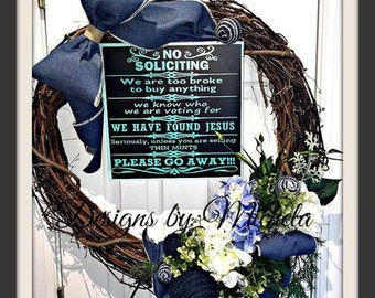No Soliciting Large Vine Wreath BR216
