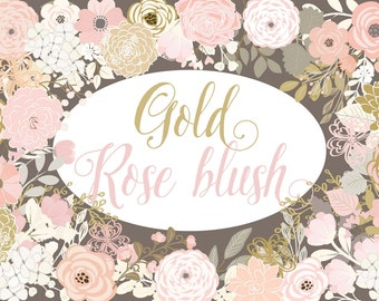 Vector Gold and Rose Blush flowers clipart, shabby chic clipart, Hand Drawn clipart,wedding clipart, flower clipart, vector flower