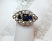 Antique Deco 14k rose & white gold ring 3 Sapphires 14 seed pearls in Oval Marquise Shaped top and Filigree under gallery .73 tw size 6.5