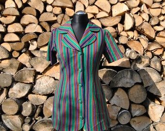 Vintage Women's blouse Stripe, keynote green with red, blue and black stripes. 5 green buttons