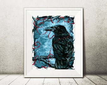 Nevermore - Gothic Home Decor - Crow Art - Office Decor - Man Cave Wall Art - Raven Art - Dark Art - Morbid Art - Crow Wall Art - Crow Gift
