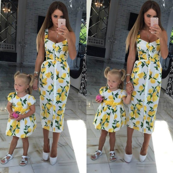 Lemon white matching mother and me dresses family outfits