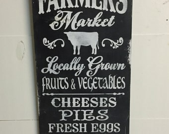 Farmers Market Farmhouse Vintage Chic Wooden Sign