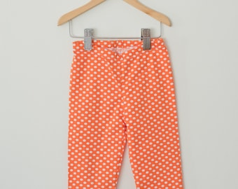 READY MADE || Orange Polka Dot Leggings, Baby Leggings, Toddler Leggings, Knit Leggings, Infant Leggings, Baby Pants