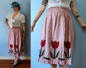 Vintage Kiss My Tulips Skirt // 1950's Handmade Pinstriped Cotton Skirt with Tulip Appliques // Elastic Waist Circle Skirt // Women's M-XL