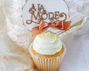A La Mode Cupcake Toppers - A La Mode Party - A La Mode Decorations - Wedding Cupcake Toppers - Party Cupcake Toppers - Set of 10 - Custom