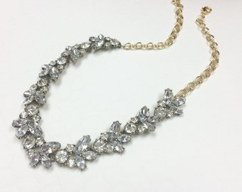 Clear Crystal Statement Necklace, Chunky Statement, Bib Necklace, Wedding Jewelry, Gold Necklace