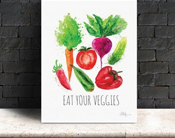 Watercolor Quote Print - Eat Your Veggies - Printable Download