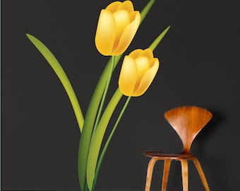 Yellow Tulip Vinyl Wall Decal for Any Room In The House or Office, Tulip Wall Designs, Tulip Wall Decor, Reusabel Tulip Wall Murals Art, c39