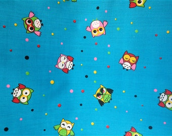 Blue Owls Poly cotton Fabric Dress/Craft Fabric …
