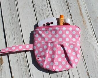 Little Girls Pink Polka Dot Zipper Pouch, Little Girls Wristlet, Little Girls Zipper Pouch, Pink Zipper Pouch, Pink Wristlet, Ready to Ship