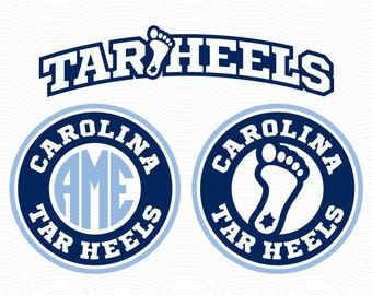 Carolina Tar Heels Monogram Frames (SVG, EPS, DXF, Studio3) Tarheels Cut Files for Silhouette Studio, Cricut Design Space, Cutting Machines