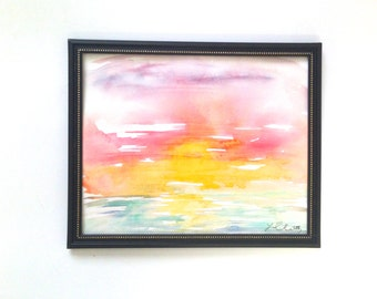 Original Watercolor Sunset, Impressionist Sunset, Watercolor Sunset, Sunset Painting, Sunset Watercolor Painting
