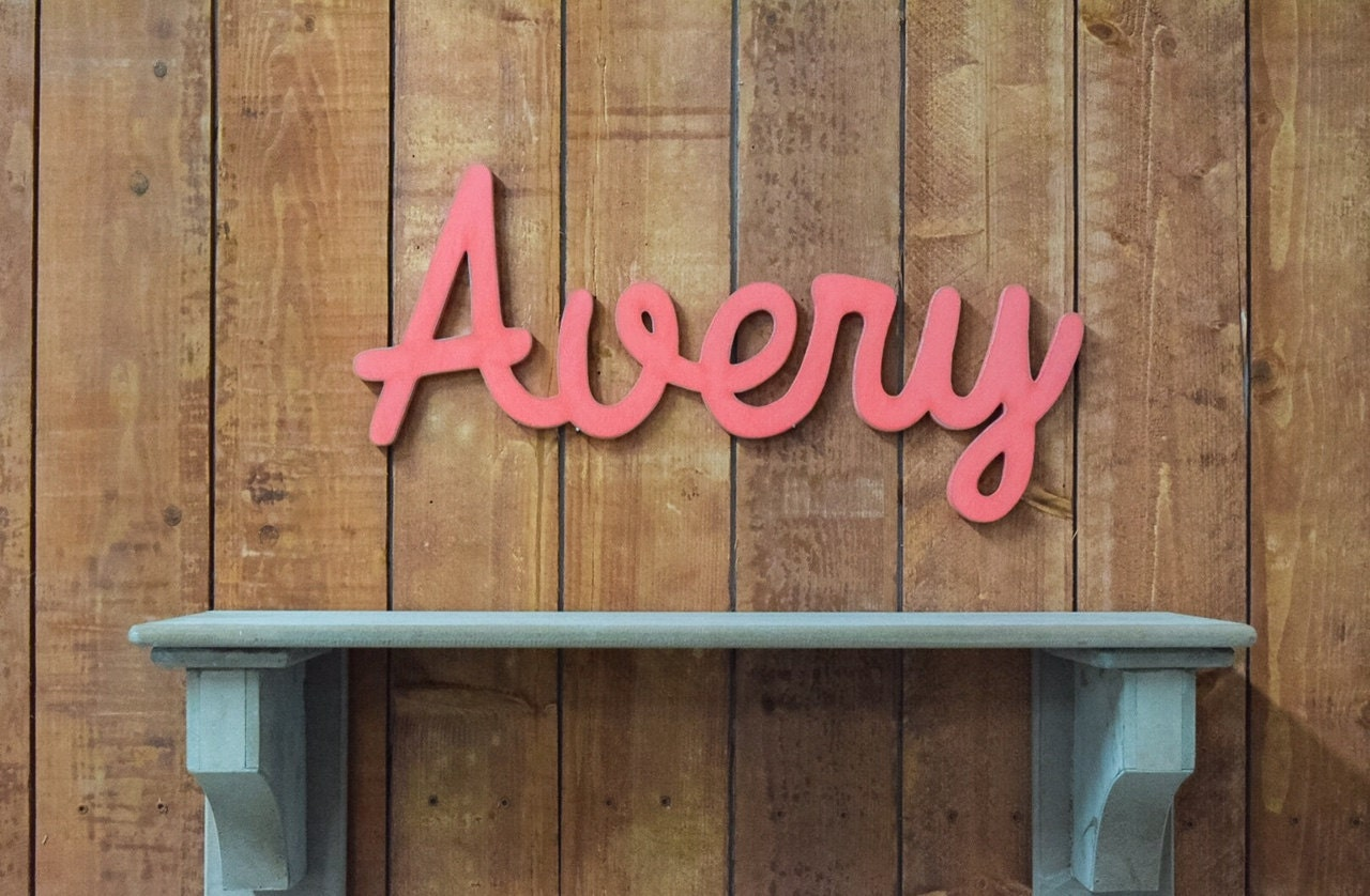 Rustic Wall Decor For Nursery : Avery wooden baby name sign nursery wall art rustic
