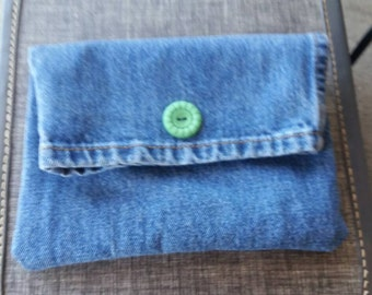 Denim clutch handbag