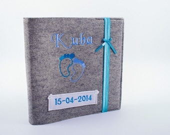 Baby Fotoalbum Junge Album Babybuch Babyalbum Taufe personalisiert Filz Herz Geburt Geschenk Gästebuch Geschenk zur Geburt blau gestickt