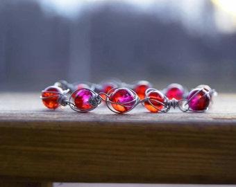 Cerise glass bead bracelet