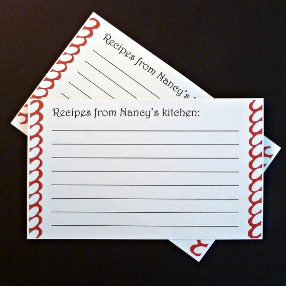 50 recipe cards 3x5 cards personalized recipe cards customized