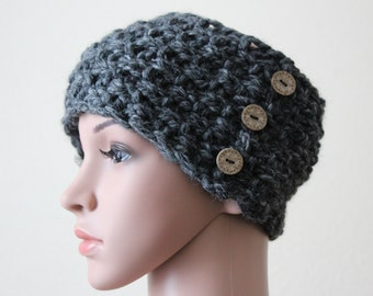 """Headband""""Kenia""""Thick Yarn/Hand knitted/3 Wooden Buttons/Dark Charcoal"""