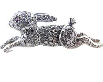 Antique Rabbit Brooch Art Deco Diamonds Gold Running Rabbit Bunny Hare (#5837)
