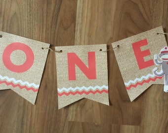 1st First Birthday One Sock Monkey Chair bunting banner