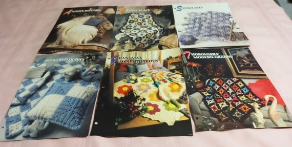 6 Assorted Annie's Attic Crochet Afghan Books Snowflakes, Checkered Quilt, Granny's Lace & More #3