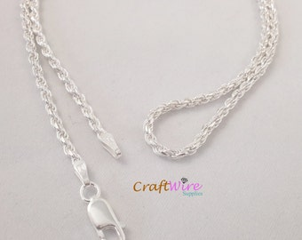 """925 Solid Sterling Silver Diamond Cut Rope Chain Necklace Italy 2.2mm 16"""", 18"""", 24"""", 30"""", Lobster Clasp, New, beautiful and ready to wear"""