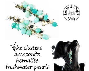 The clusters - Cluster earrings – ball-shaped stud of a silver colour - 12 amazonite and 6 hematite gemstones - 10 freshwater pearls (#226)