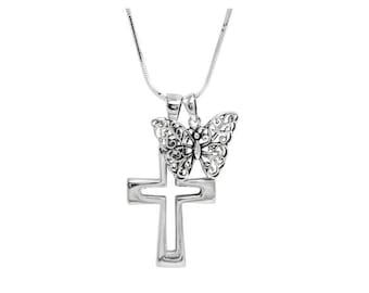 Open Cross & Butterfly necklace