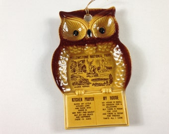 Yellowstone National Park Owl Apni Decorative Collectible Kitchen Prayer My House Made in Japan