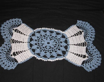Original crocheted Doilies light blue white