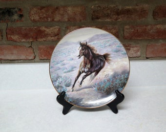 Artaffects Vintage Mustang Collectible Plate Gregory Perillo North American Wildlife Series 1989 Plate #4135A