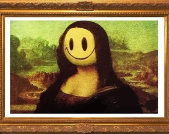 BANKSY Canvas Graffiti Mona Lisa Smile Wall Art Print Gallery Wrapped