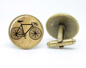 Vintage Bicycle Cufflinks Vintage inspired Men's bronze / silver plated Bike cycling cufflinks