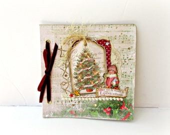 Christmas tree mini album, Premade album, Photo mini album, Retro Christmas memories, Scrapbook mini album, Photo book, Holidays memories,