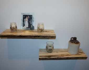 Set of Two Rustic Hackberry Floating Shelves