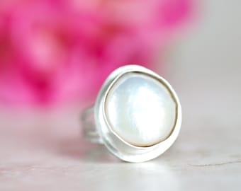 Pearl Ring, Freshwater Pearl Ring, Organic Pearl and Silver Ring Made to Order in Your Size