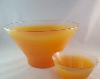 """SALE - Orange Frosted """"Blendo"""" Bowl Set"""