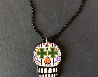 Sugar skull, Sugar Skull Necklace, Day of the Dead, Ceramic Pendant, Skull Necklace, OOAK, Hand Painted, Halloween Jewelry