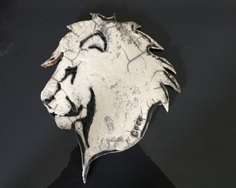 Ceramic raku Bas relief Lion, wall decoration