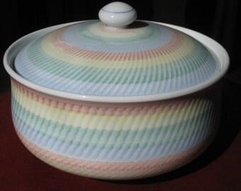 Oriental / Asian Rainbow Porcelain Jar with Lid