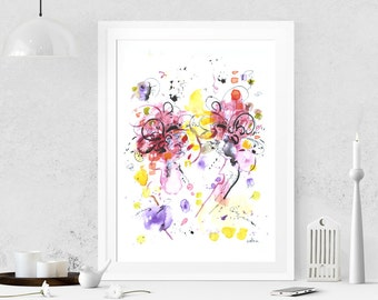 Abstract painting Red painting Abstract painting on paper Abstract art Watercolor painting Modern art Abstract wall art Acrylic painting