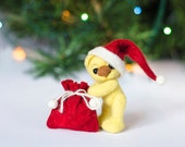 Christmas figurine small bear Xmas decoration Santa bear figurine Holiday figurine Xmas decor Cute Christmas gift Felted collectible toy