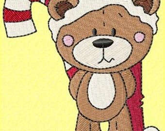 Cocoa Teddy and his candy cane machine embroidery design