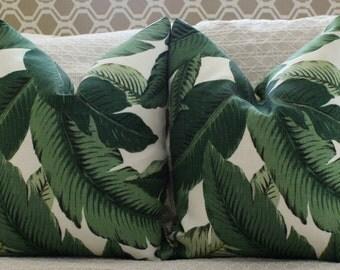Banana leaf Palm print pillow cover // tommy bahama fabric // palm print // palm beach // chinoiserie // miami